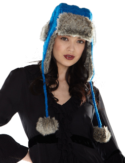 gray trapper hat with faux fur lining and pom poms