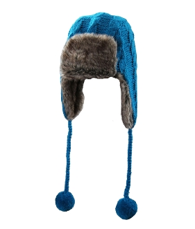 blue trapper faux fur pompoms