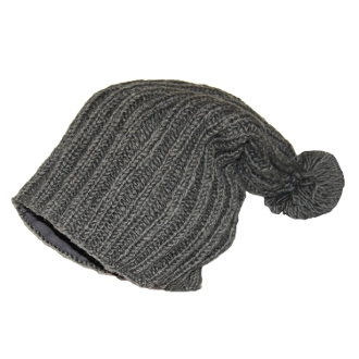 Grey Rugged Ribbed Slouchy Pompom Beanie