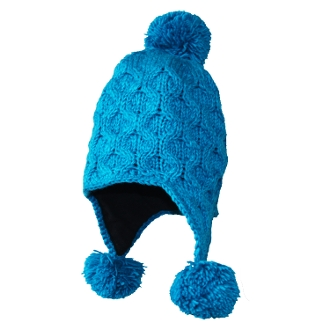 Blue S-Knit Earflap Pompom Hat