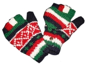 Red white green striped square Knitted GloMitts