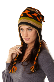 orange earflap hat with full fleece lining and tassels