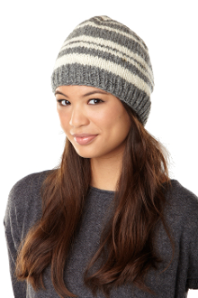 Gray striped beanie
