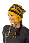 yellow earflap hat with full fleece lining and tassels
