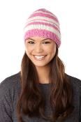 pink striped beanie