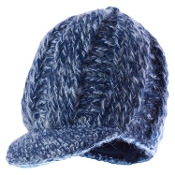 blue melange knitted wool bill hat