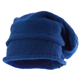 blue plain knit slouchy beanie