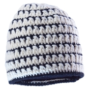 black and white intricately knit beanie