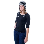 black and white arrow heard earflap hat with fleece lining and tassels