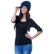 blue knitted wool bill hat