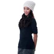 Ivory horizontal wide-ribbed knitted wool floppy beanie