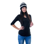 black and white pom pom beanie