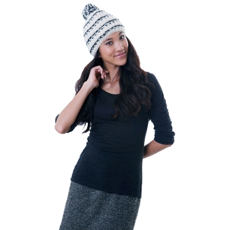 black and white intricately tuck knit beanie