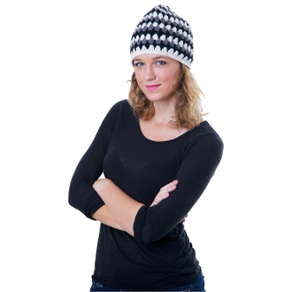 black white and gray striped wool crochet beanie