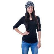black and white melange wool crochet flower beanie