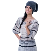 gray plain knit slouchy beanie