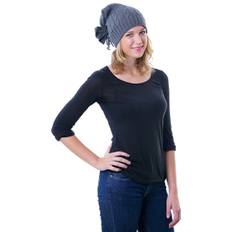 gray top-tie cable knit slouchy beanie