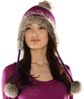 purple wool faux fur lined womens winter pom pom hat