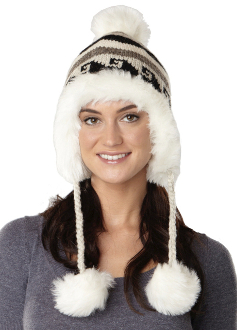 women's natural color earflap hat with faux fur lining