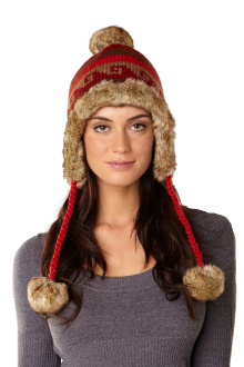 Red wool faux fur lined women's winter pom pom hat