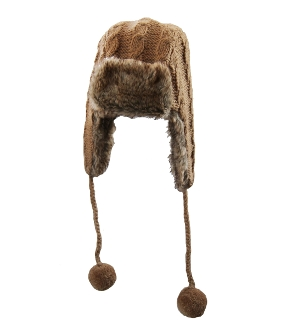 beige trapper faux fur pompoms