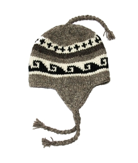 Black and white earflap fleece hat