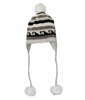 black and white earflap fleece hat faux fur pompoms