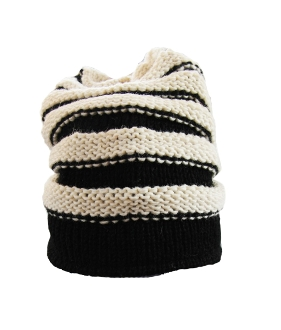 Black and white stripe tube beanie
