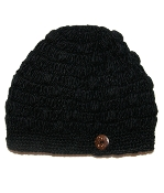 black side button crochet beanie