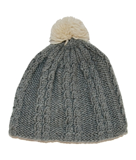 grey cable knit beanie white pompom