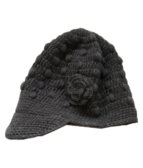 Grey Flower Bill Hat