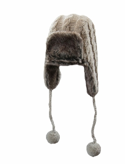 grey trapper faux fur pompoms