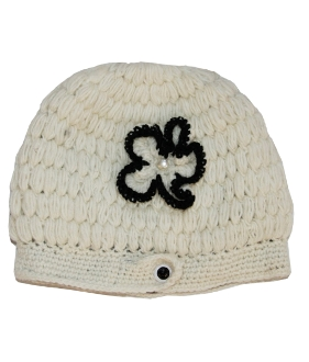 ivory side button flower crochet beanie