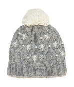 light grey beaded beanie