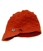 Orange-Red Button Bill Hat