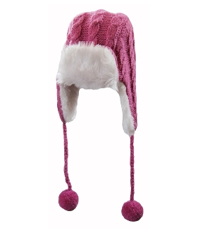 pink trapper faux fur pompoms