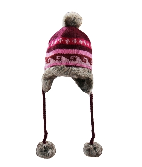 pink trapper brown faux fur lining pompoms
