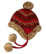 red, brown faux fur trapper with pompoms