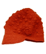 Orange-Red Flower Bill Hat