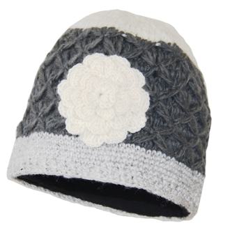 Gray-Ivory Crochet Flower Beanie