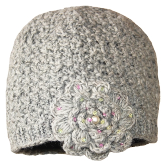 Gray Crochet Flower Beanie