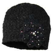 Black Crochet Flower Beanie
