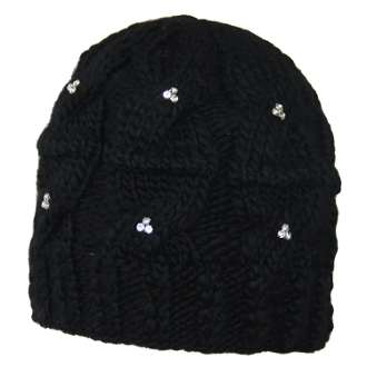 Diamond Studded Cable knit Beanie
