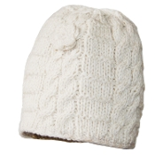 Ivory Cable Knit Flower Long Beanie