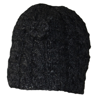 Black Cable Knit Flower Long Beanie