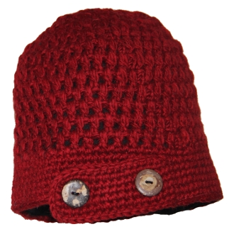 Burgundy Side Flap Button Beanie