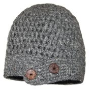 Grey Side Flap button Beanie
