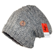 Grey Side-Button H-Tube Slouchy Beanie