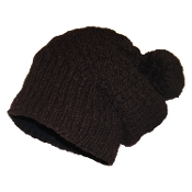 Front-Cable Intricate Knit Slouchy Pompom Beanie