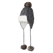 Cable Knit Earflap Faux-Fur Pompom Trapper